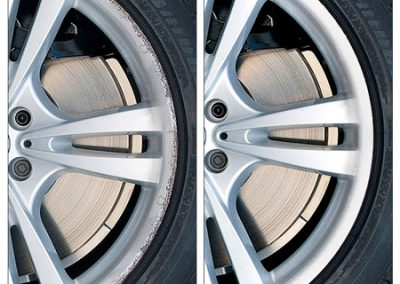 Image of a before and after photo of an alloy wheel repair