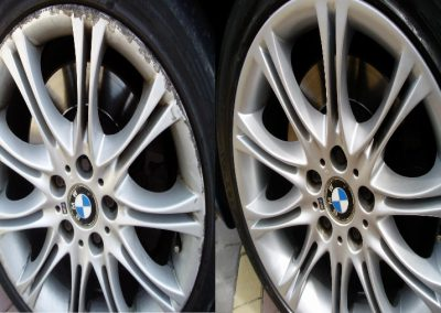 Image of before and after photo of an alloy wheel repair