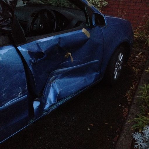 Car Door Pillar Damage Fiat Punto Accident B Pillar